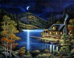 Moonlit Cabin mural