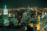 Aerial View Of Lower Manhattan At Night