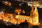 St Marys Cathedral At Night-Australia mural