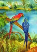 Macaws mural