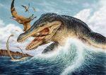 Kronosaurus Attacking Cearadactylus mural